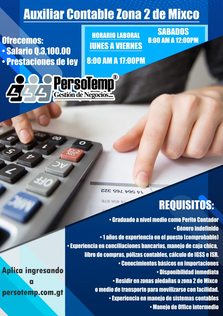auxiliar contable zona 2
